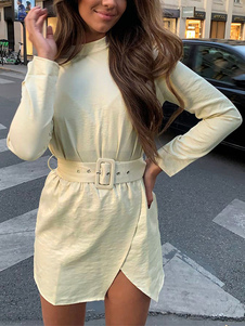 Mini Dresses Beige Mangas longas botões de poliéster vestido curto