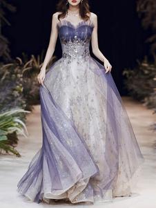 Prom Dress Una linea senza spalline in tulle pieghettato sleeveless in rilievo un matrimonio Abiti