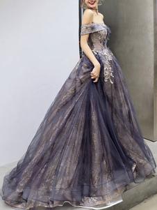 Prom Dress A Line Off The Shoulder Senza maniche Lunghezza del pavimento Abiti da cerimonia convenzionali