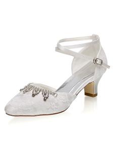 أحذية الزفاف العاج مش أحجار الراين جولة تو كريسس الصليب أحذية كعب مكتنزة الزفاف