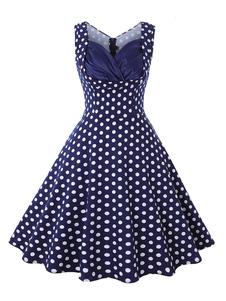 Mangas pescoço namorada Vestido Rockabilly Vestido 1950 Vermelho da mulher Impresso Vintage