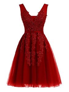 Vestido de Festa lindo curta linha V Neck mangas Lace frisada Mini Tule Prom Dresses