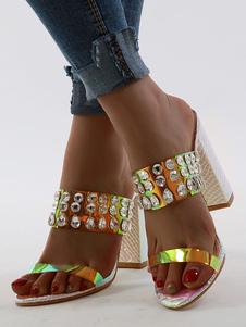 Ouro Sandal Slippers Mulheres dedo do pé aberto Pedrinhas Chunky Heel Slip On Sandália Slides