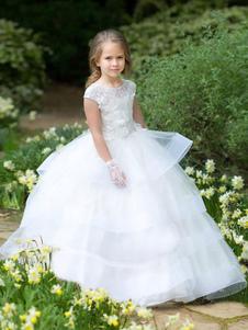 Платья для девочек-цветочниц с короткими рукавами, длиной до пола, детские платья