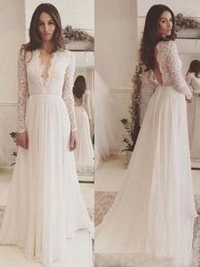 Vestidos de novia sencillos de línea A Vestidos de novia Marfil Boda con manga larga cintura natural de encaje de chifón con cuello en V