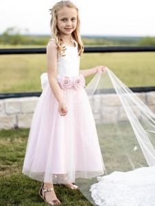 Платья для девочек-цветочниц Атласная жемчужина без рукавов Цветы до щиколотки Платья для вечеринок для детей