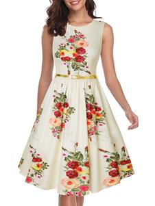 Vestido vintage Vestido sin mangas con cuello redondo y joya de mujer color crudo blanco de los años 50