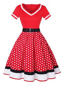 Vestido vintage 1950 mulher vermelha mangas curtas V Neck Swing Dress