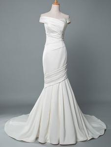 Vintage Vestido De Noiva Sereia Fora Do Ombro Sem Mangas Tecido De Cetim Plissado Com Trem Vestidos Tradicionais Para A Noiva