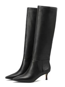 Stivali al ginocchio neri Stivali al ginocchio con tacco a punta da donna