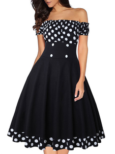 Vestido vintage dos anos 50 Bateau Neck mangas curtas mulher vestido Rockabilly