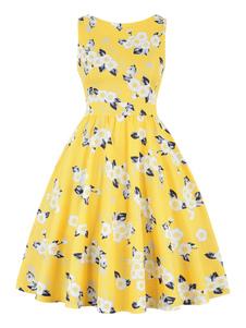 Vestido vintage 1950 cor dividida mulher mangas Jewel Neck Swing vestido