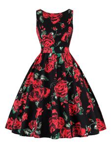 Vestido vintage Vestido sin mangas con cuello redondo y joya de mujer color 1950