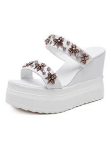Mulheres White Sandals Aberto à frente do metal Detalhe mocassim Sandália Slides