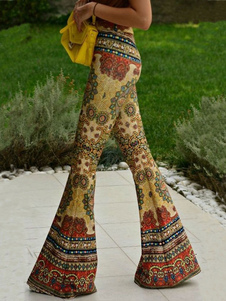 Boho pantalones de campana inferior 70 de la llamarada pantalones impresos