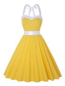 Pin Up vestido vestido Rockabilly dos anos 50 vestido sem mangas mulher Swing