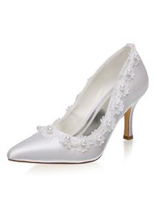 """أحذية زفاف من الساتان العاجي مدببة تو اللؤلؤ خنجر كعب 3.1 """"أحذية الزفاف"""
