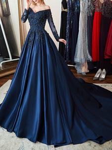 Vestido de noche de satén Azul marino oscuro Una línea fuera del hombro Vestido de fiesta formal plisado con cuentas de manga larga