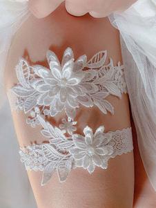 Liga de la boda para la novia Arcos de encaje azul marino oscuro Liga de la boda