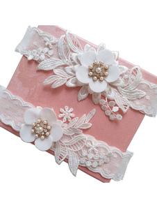 Liga de la boda Perlas blancas Flores Ligas de novia