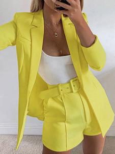 Комплект из двух частей Желтые хлопковые пуговицы Повседневный ремень с длинными рукавами и отложным воротником Многослойный наряд для женщин