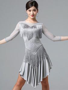 Traje de baile latino Vestido de volantes con flecos de diamantes de imitación Traje de baile