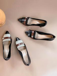 Tacchi bassi Vintage delle retro donne della punta aguzza pompe tacco a forma di Speciale