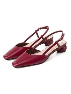 Tacchi Borgogna medio-basse Piazza Vintage Toe speciale tacco a forma di Slip On pompe per le donne