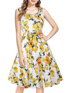 Praça mangas Neck Mulher Amarelo retro Vestido 1950 do balanço Vestido
