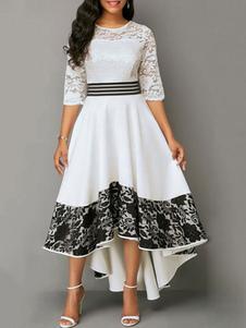 Кружевные платья Белые шеи Jewel с половиной рукавов Нерегулярные повседневные платья