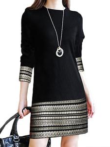 فساتين BODYCON الأسود 3/4 طول الأكمام عارضة جوهرة الرقبة سليم صالح اللباس غمد اللباس