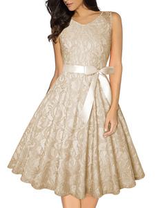فستان الدانتيل خمر 1950s جوهرة الرقبة بلا أكمام ثوب امرأة سوينغ