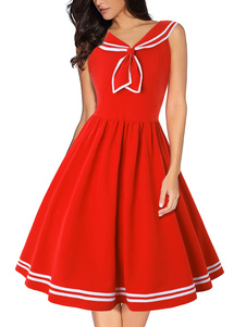 Vestido retrô dos anos 50 vermelho mulher mangas curtas vestido rockabilly
