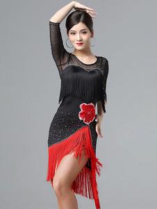 فساتين الرقص اللاتينية هامش زهرة حبة شبه شير اللباس النساء الرقص زي