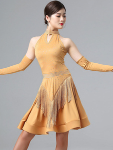 Traje de baile latino Rhinestone Fringe Bead Lycra Spandex Dress Dancing Wear