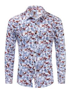 قميص قطني مطبوع 100٪ للرجال ، باللون الأبيض