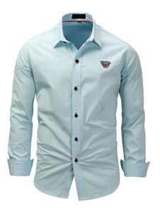 قميص كاجوال للرجال كي طوق كاجوال بنطلون واسع مقاس كبير بلون أزرق فاتح