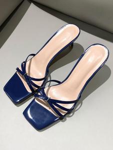 Sandálias de salto gatinho mulheres toe aberto sem encosto sandália desliza