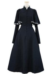 Gothic Lolita OP Vestido Caped Ruflfe Preto mangas compridas Lolita Dresses One Piece
