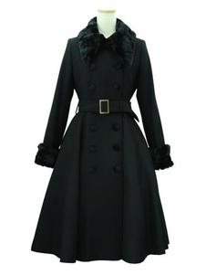 Escudo Clásico Lolita abrigos con cinturón Negro peludo del collar Abrigo de invierno ropa exterior Lolita