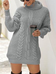 المرأة محبوك اللباس الأنيق ذوي الياقات العالية طويلة الأكمام سترة الشتاء الاكريليك