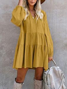 فساتين التحول الأصفر الخامس الرقبة مطوي القطن مزيج الرباط المرأة تونك اللباس الحديث