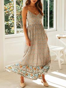 Vestidos largos Sin mangas Beige Estampado floral Tirantes Cuello Vestido bohemio Vestido largo con cordón