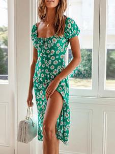 Платье Boho с шнуровкой и коротким рукавом с цветочным принтом Пляжное платье с завязками