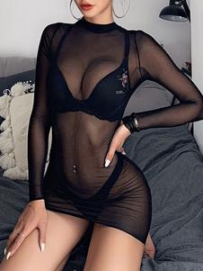 Vestido de club para mujer Cuello alto Casual manga larga Tul Vestido transparente negro puro