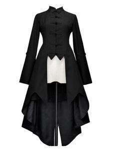 Abrigos góticos de lolita Gabardinas negras Algodón con volantes bajos Ropa de invierno de lolita