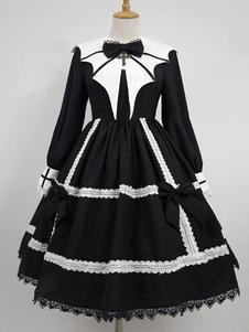 Vestido gótico Lolita OP Collar puntiagudo de encaje Vestidos de una pieza de Lolita negro