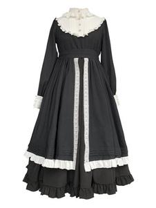 الكلاسيكية لوليتا اللباس OP فريل الرباط زر الكشكشة السوداء لوليتا فساتين قطعة واحدة