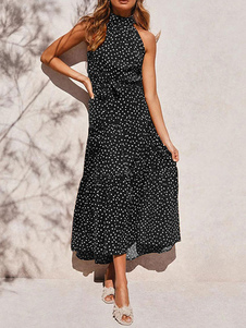 Maxi Vestidos Sem Mangas Preto Floral Estampado Bohemian Vacation Dress