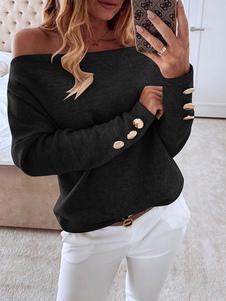 Camisetas de manga larga Negro botones del hombro Bardot Tops